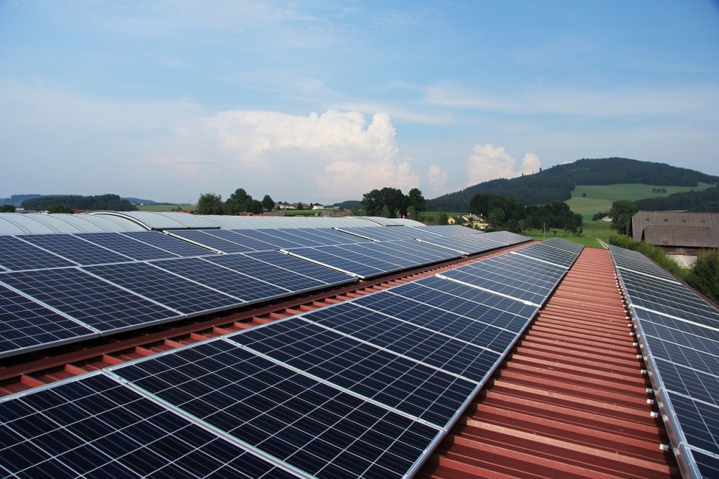 a picture of solar panels on the roof