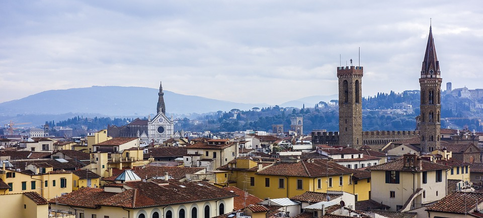 an image depicting the many different roof types of Florence, Italy