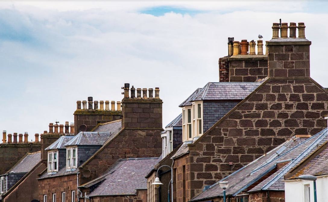 an image of a row of roofs